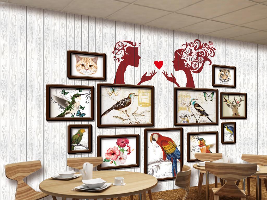 花鸟动物照片墙木板木纹餐厅酒吧工装背景墙