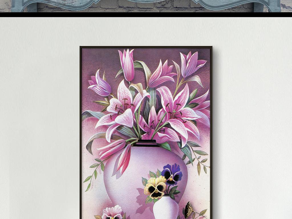 花瓶百合花手绘装饰画