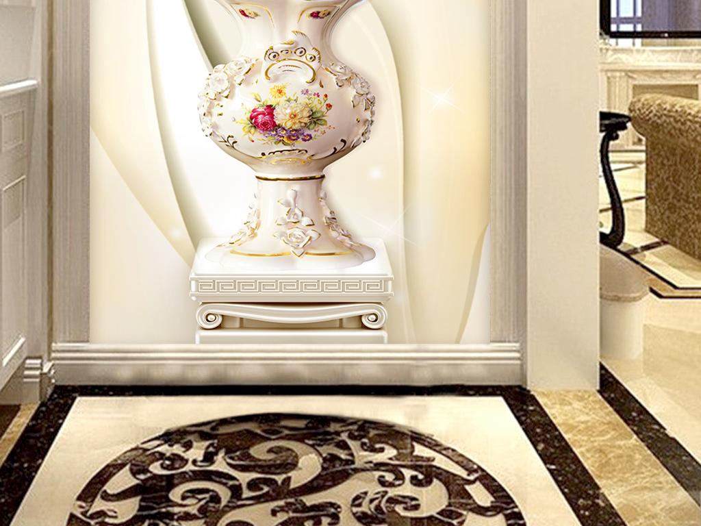 中式3d郁金香玄关3d罗马柱玄关郁金香设计图花卉罗马柱3d背景3d郁金香图片