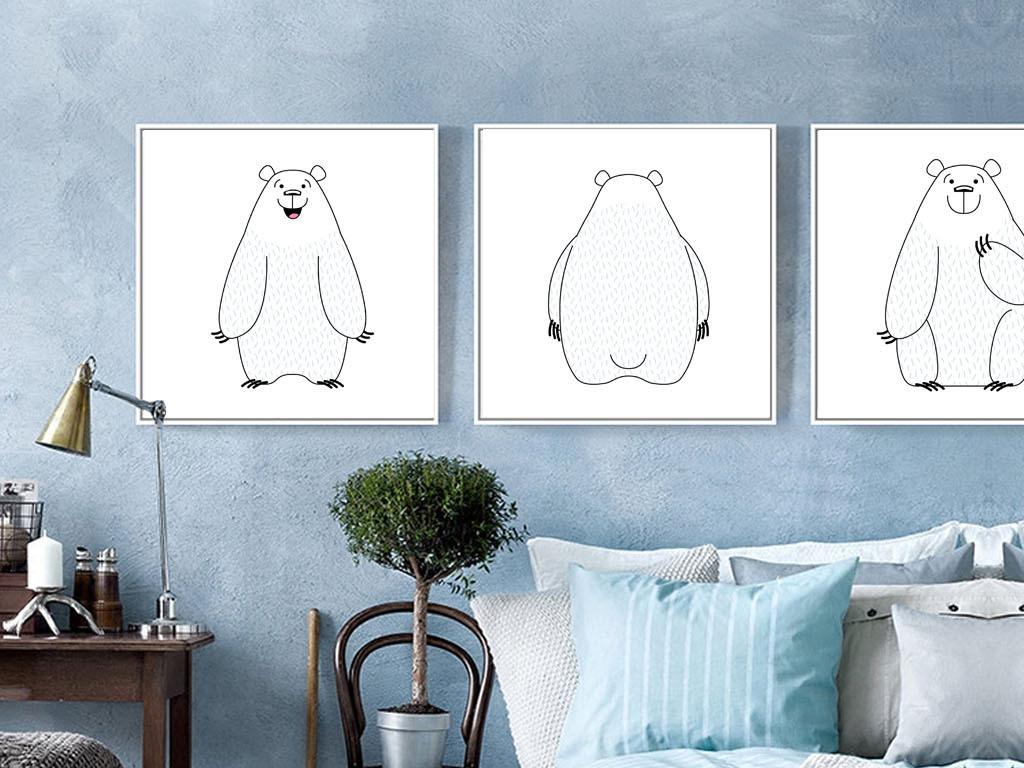 北欧简约线描北极熊系列(图片编号:15329359)_动物无