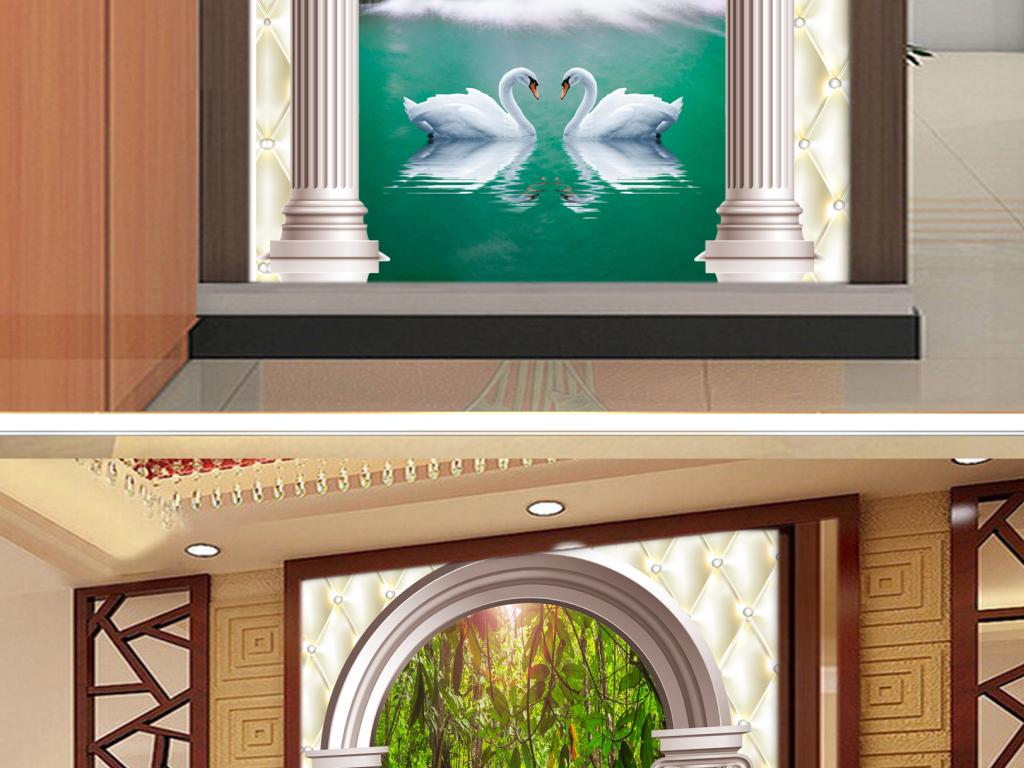 唯美欧式罗马柱天鹅湖瀑布玄关背景墙图片图片