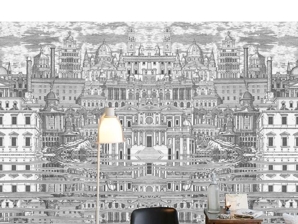 欧式复古怀旧黑白城堡壁画高端背景墙