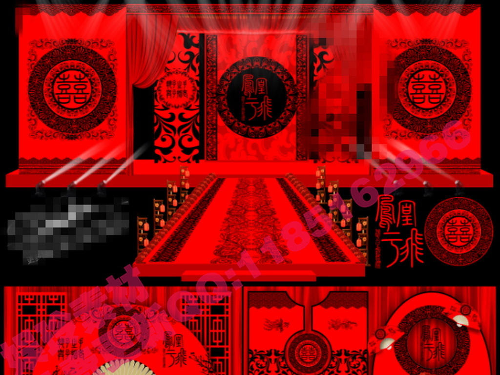 红色中式汉式婚礼背景设计图片