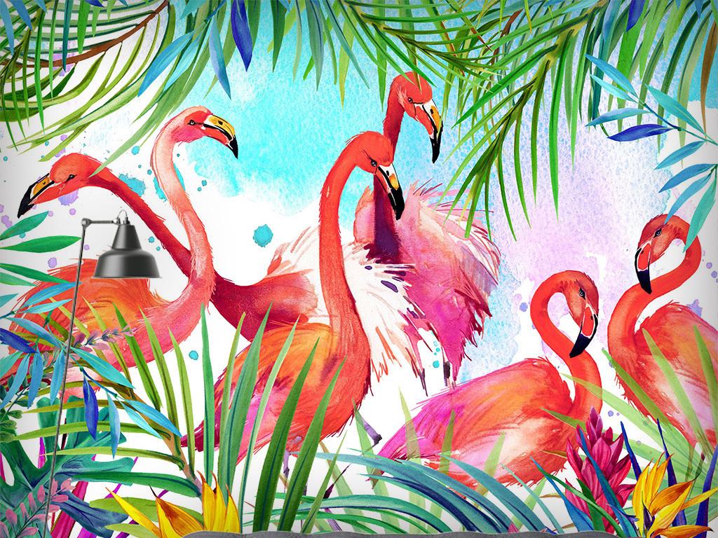 水彩火烈鸟背景墙(图片编号:15335528)_手绘壁画_我