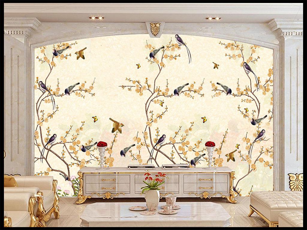 手绘花鸟图背景墙