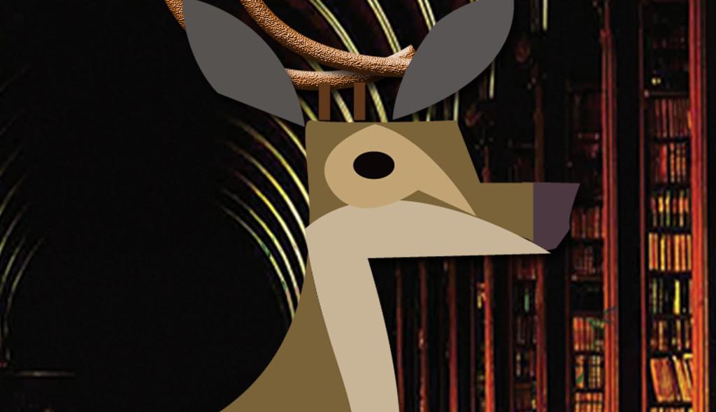 日本手绘麋鹿头图案