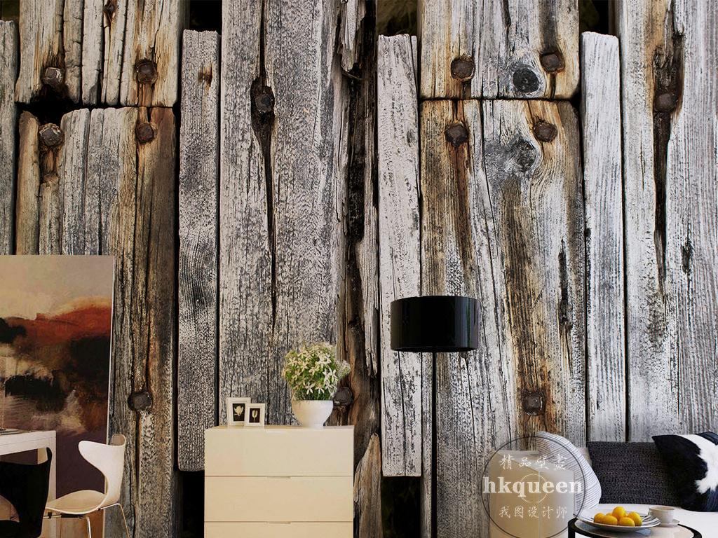 欧式古典木板纹理时尚简约电视背景墙