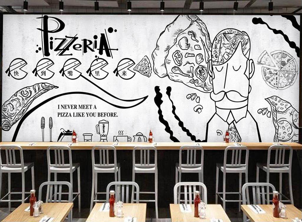 手绘黑白披萨店餐厅背景墙(图片编号:15342247)_酒店