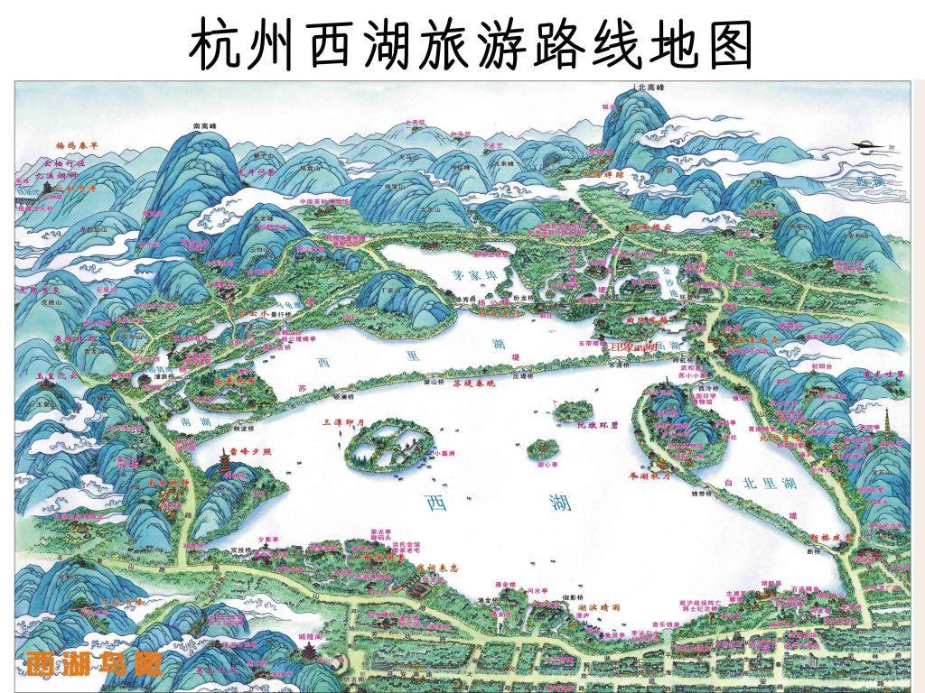 杭州西湖交通旅游地图