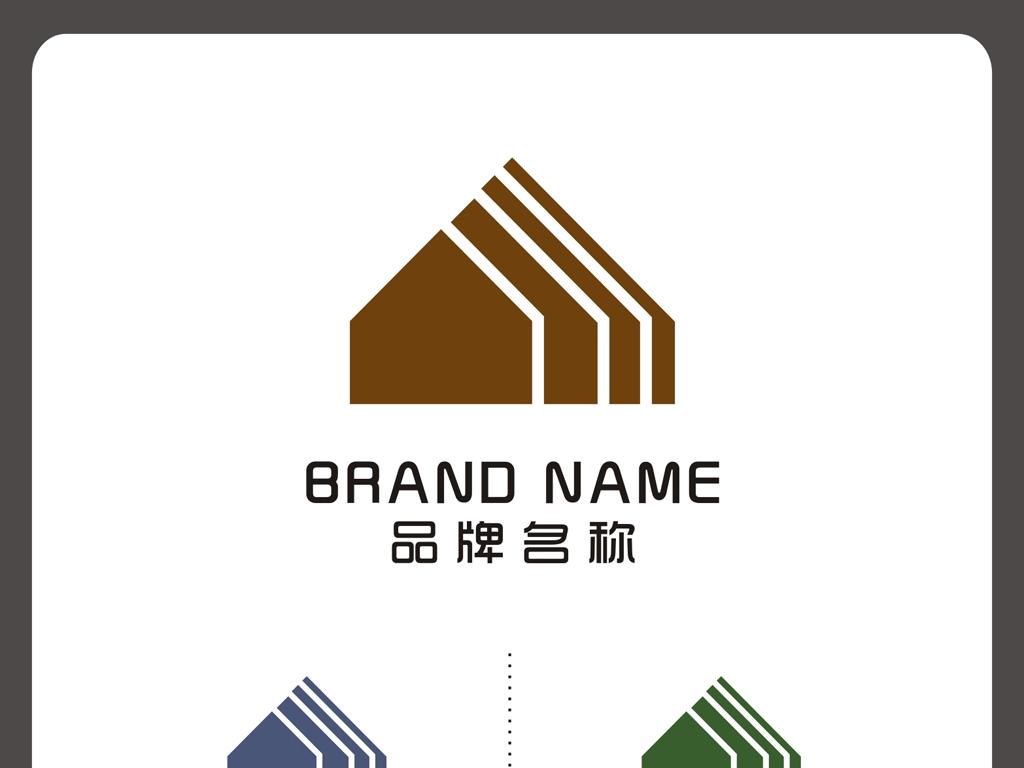 小木屋形状温馨logo标志设计下载