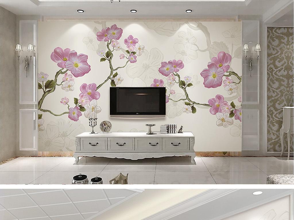 高清纯手绘唯美清新梅花欧式简约电视背景墙