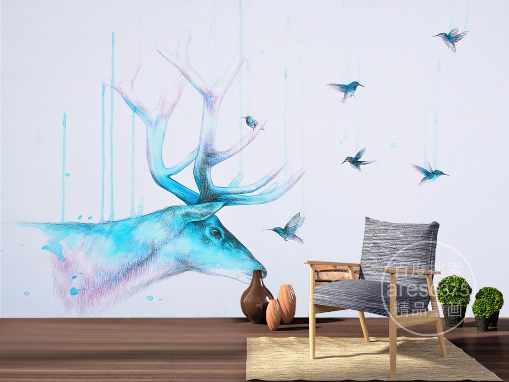 手绘彩绘彩色铅笔麋鹿飞鸟文艺壁画背景墙