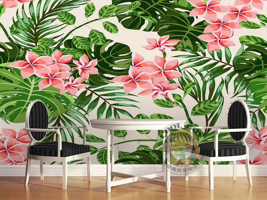 画 电视背景墙 现代简约电视背景墙 > 手绘红花绿叶小碎花芭蕉叶简约