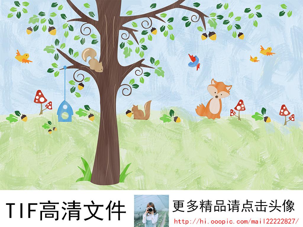 手绘卡通森林动物背景墙装饰画