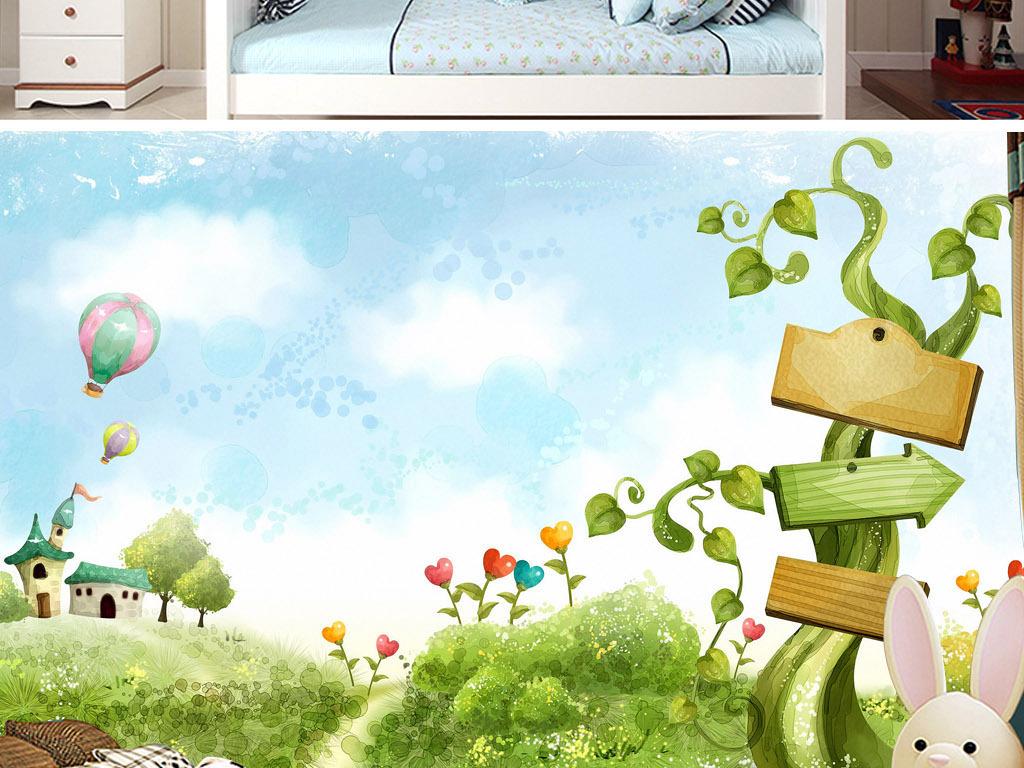 背景墙 电视背景墙 手绘电视背景墙 > 魔豆藤绿色清新手绘热气球花朵