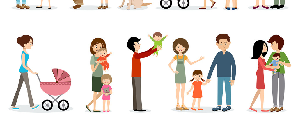 扁平插画风格家庭主题人物插画