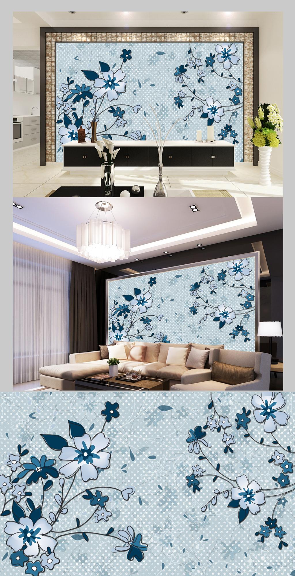 现代简约手绘花卉电视背景墙