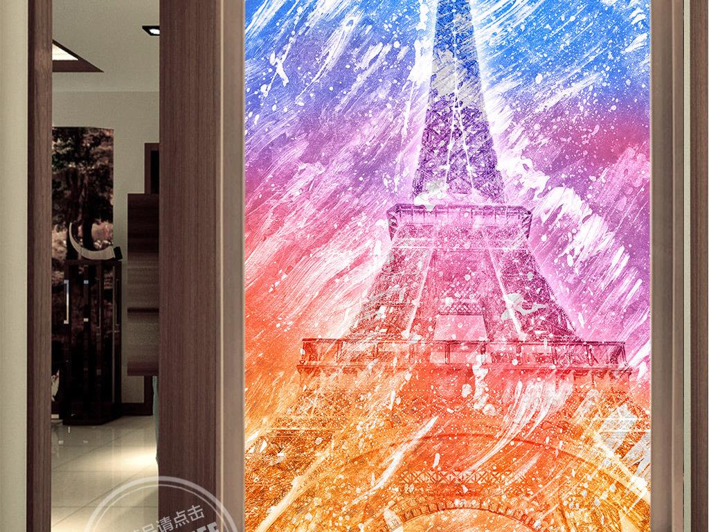 手绘建筑画法国埃菲尔铁塔玄关图片玄关字玄关图玄关背景玄关柜子玄关