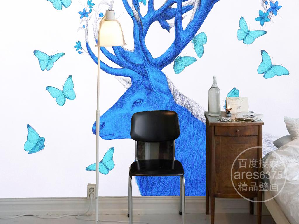 多彩手绘铅笔画麋鹿角蝴蝶壁画装饰画背景墙