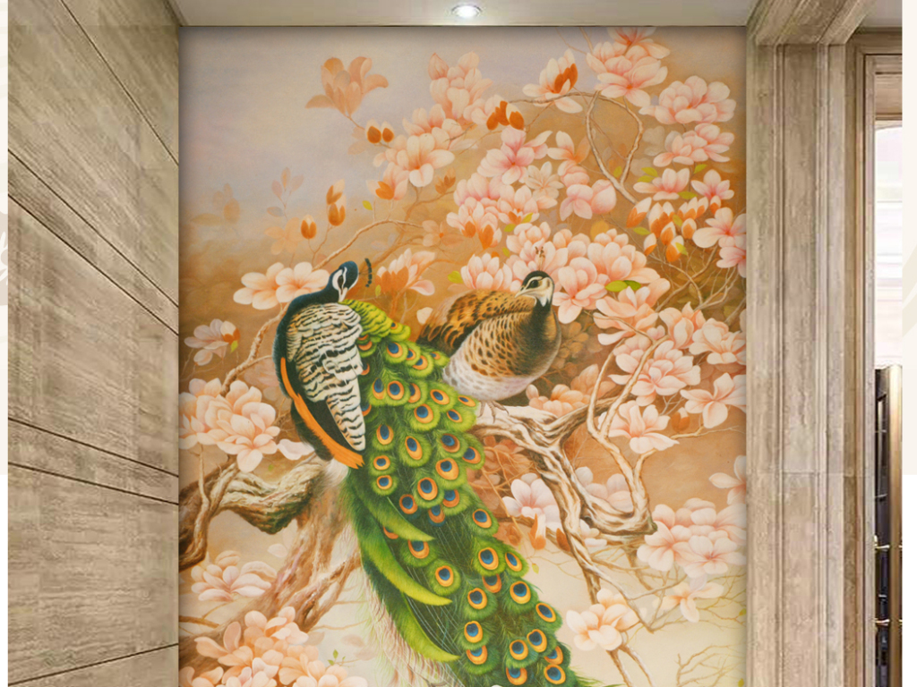 欧式装饰画贴图-玉兰孔雀玄关艺术油画