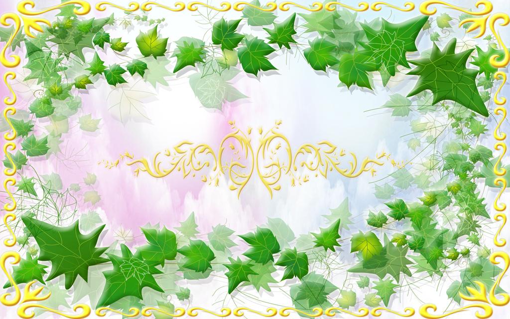 高清清新树藤唯美欧式花边花纹吊顶天顶壁画