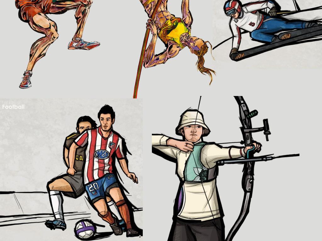 创意手绘时尚运动人物素材图片下载