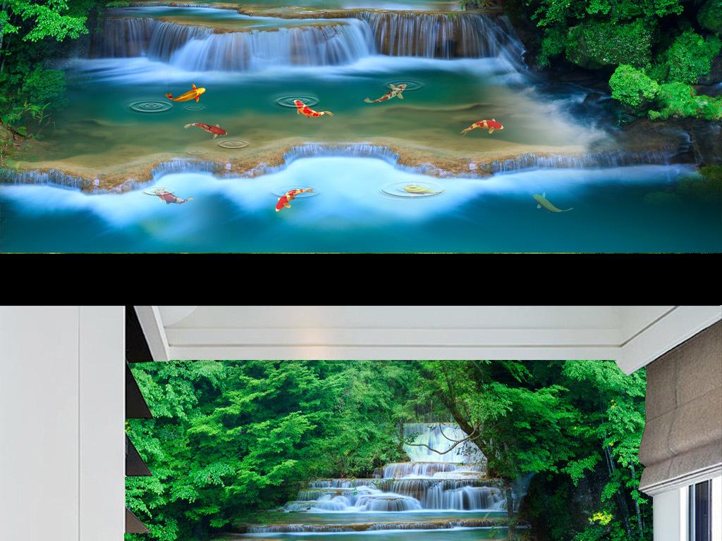 3d高清森林河流瀑布背景墙装饰画