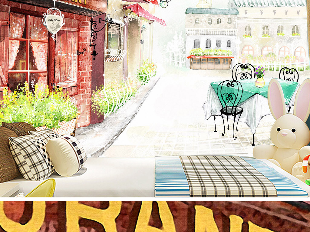 背景墙|装饰画 电视背景墙 手绘电视背景墙 > 欧洲复古露天早餐咖啡馆
