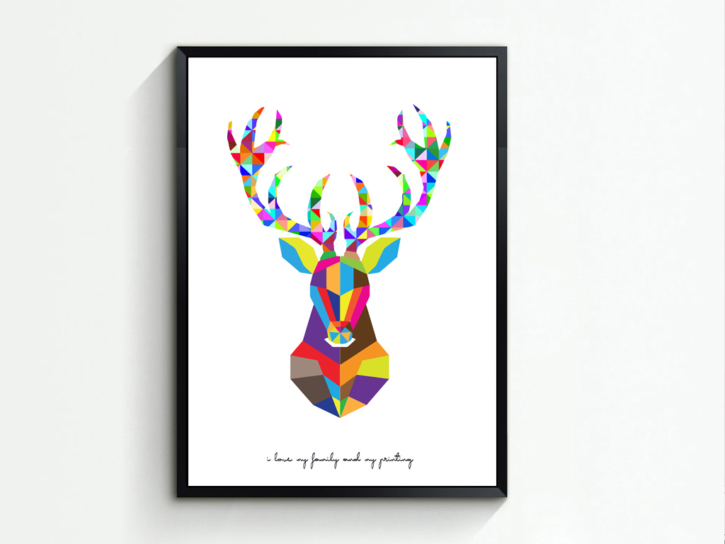 北欧鹿头抽象几何动物现代简约装饰无框画