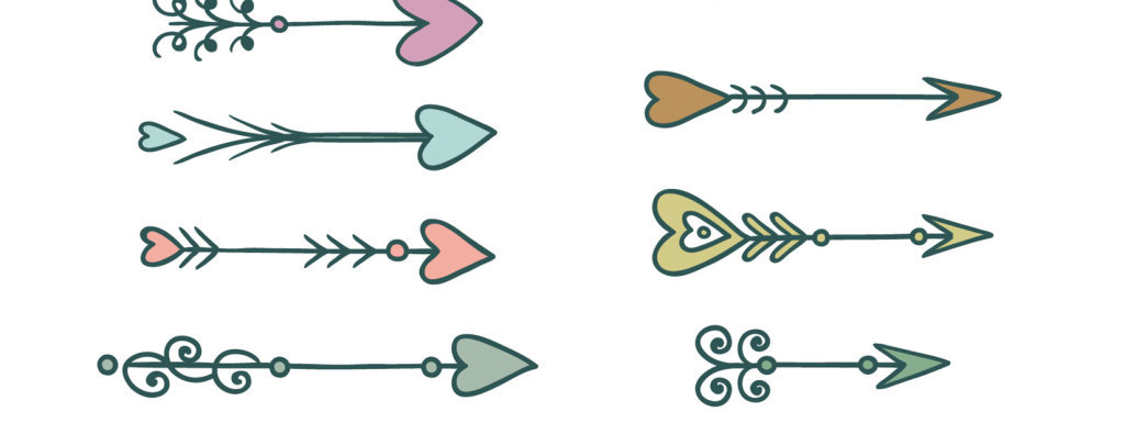 手绘卡通爱心箭头矢量图