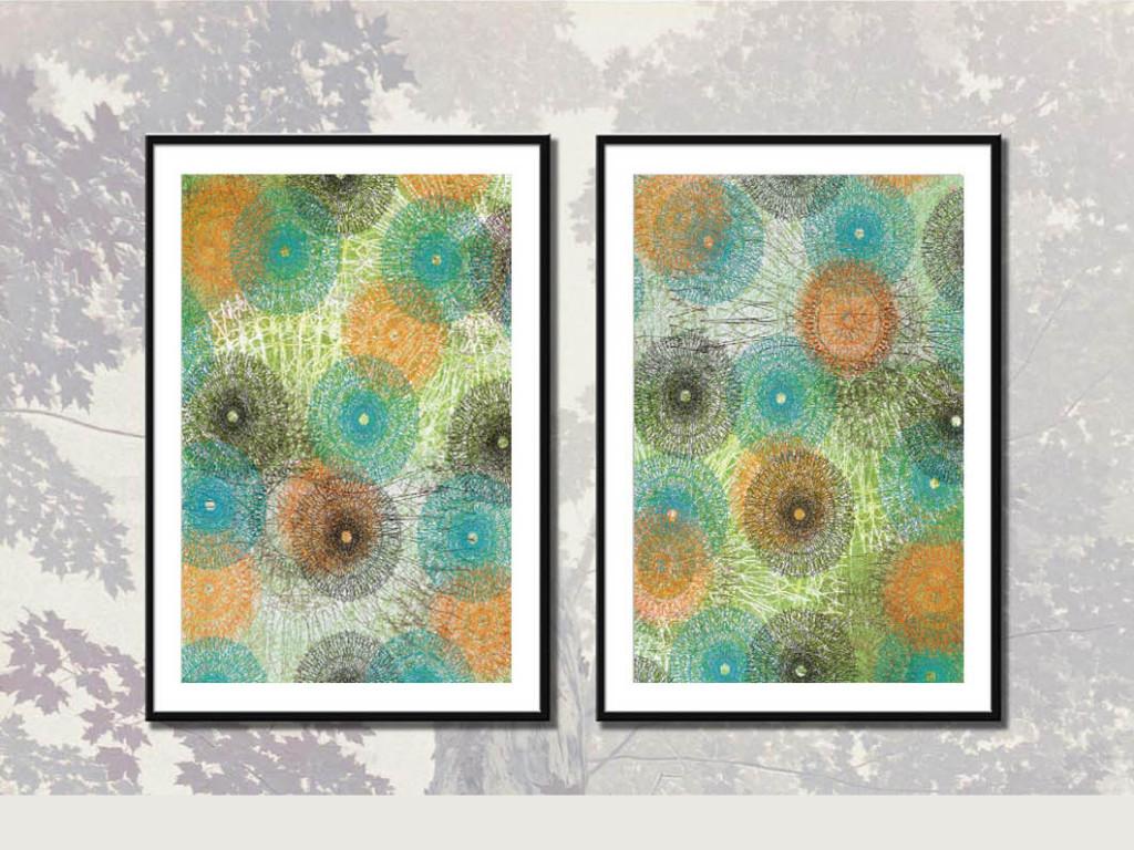 抽象手绘色彩图案装饰画