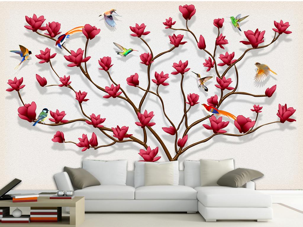 手绘家庭树生命树背景墙
