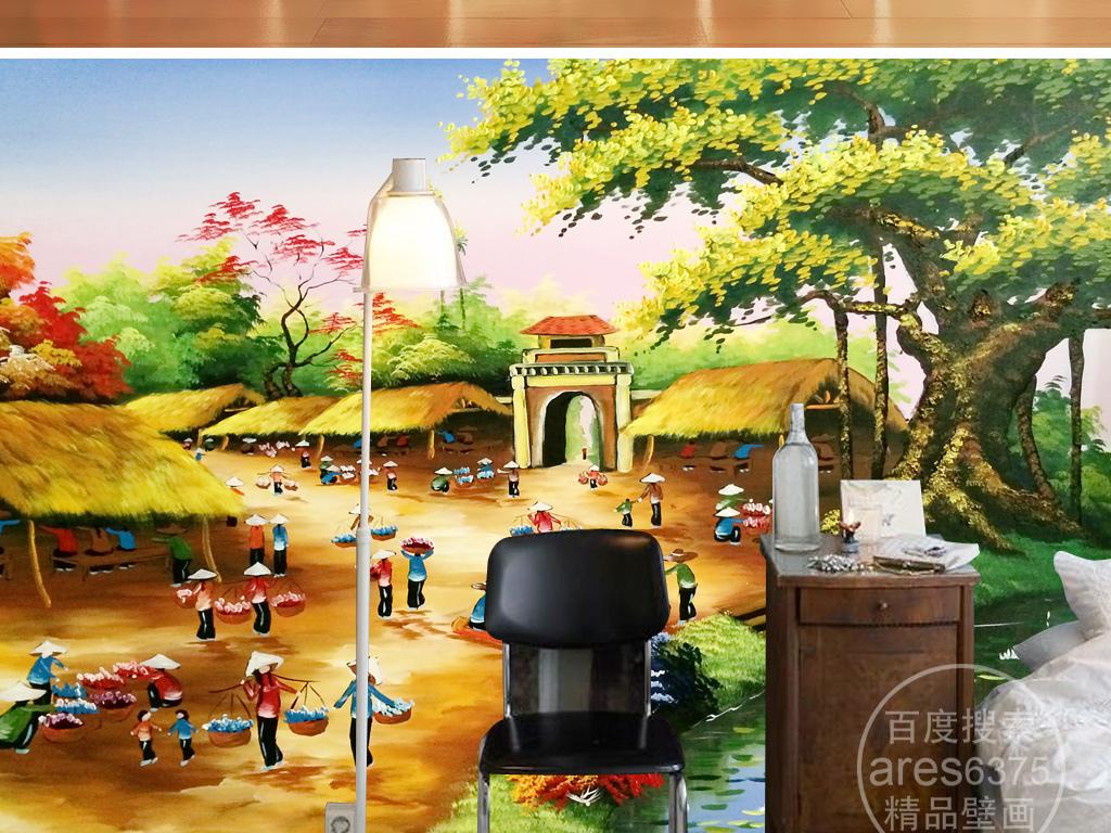电视背景墙 油画|立体油画电视背景墙 > 手绘江南乡村油画丰收景象