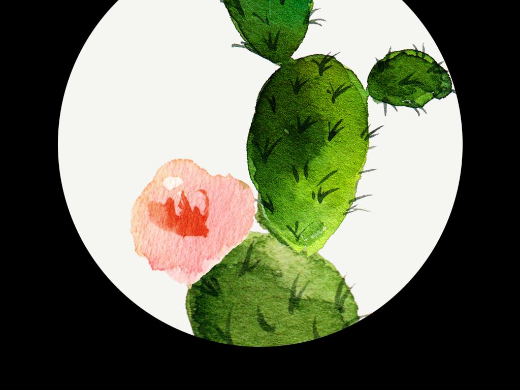 手绘绿色蕨类植物仙人掌多肉盆栽花盆萌物进口画芯欧美画芯画芯英文