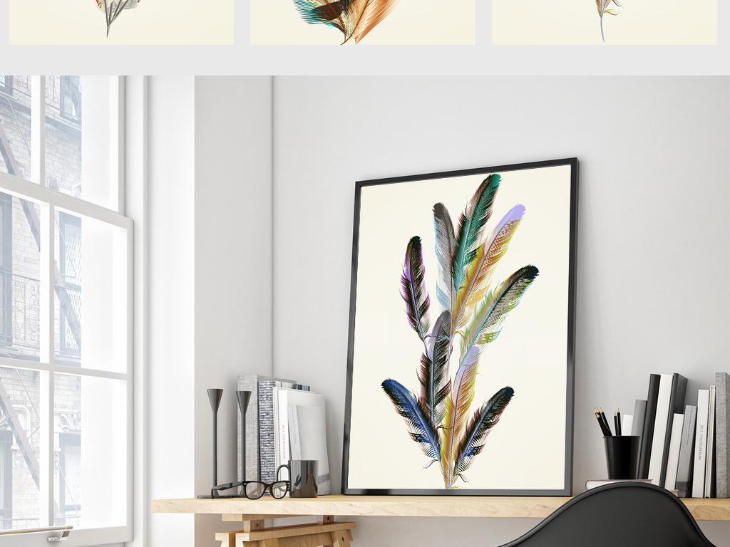 手绘装饰画工装田园风格创意鸟花卉简欧家装简约简约风格简约明了北欧