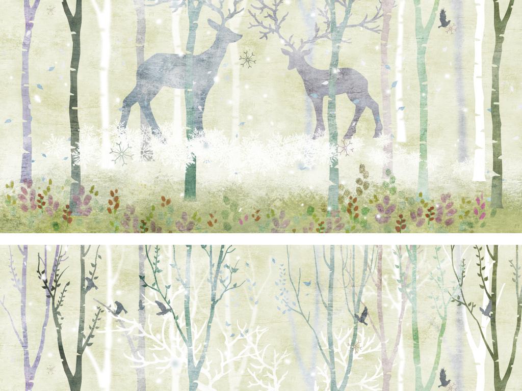 森林麋鹿手绘电视背景墙壁画