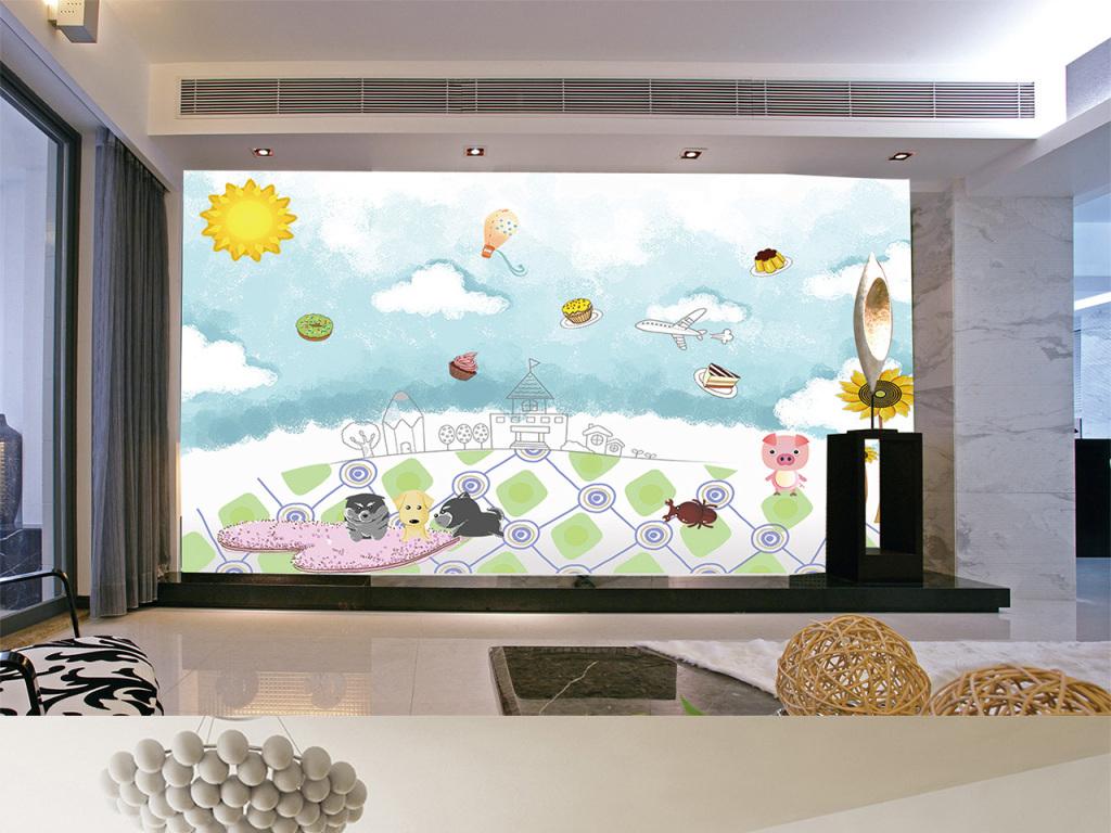 手绘卡通蓝天白云动物儿童房电视背景墙