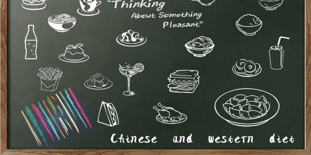 彩色粉笔食物汉堡薯条咖啡茶杯饺子