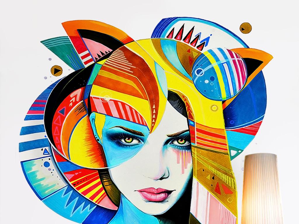 卡通手绘性感美女彩绘抽象油画油彩玄关过道