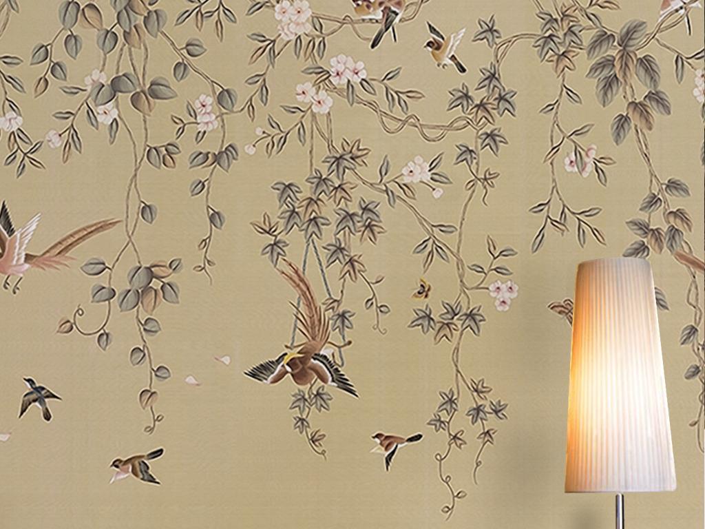 大气怀旧复古花卉飞鸟手绘藤蔓田园美式墙纸图片