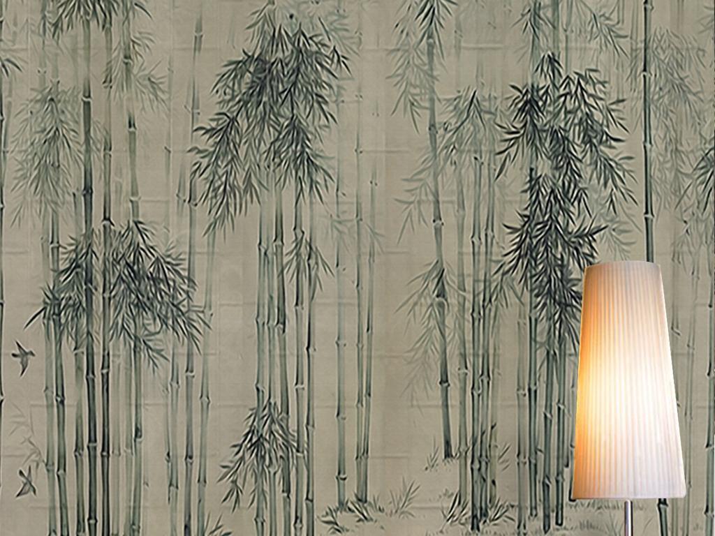 水墨古典中国风竹林意境缥缈素雅中式墙纸图片