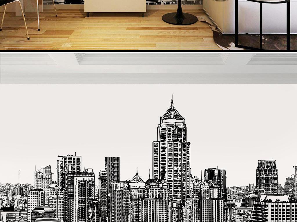 欧式复古黑白手绘城市建筑房屋怀旧墙纸