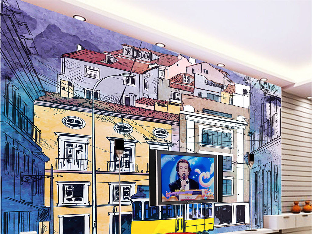 手绘城市道路大型壁画矢量图