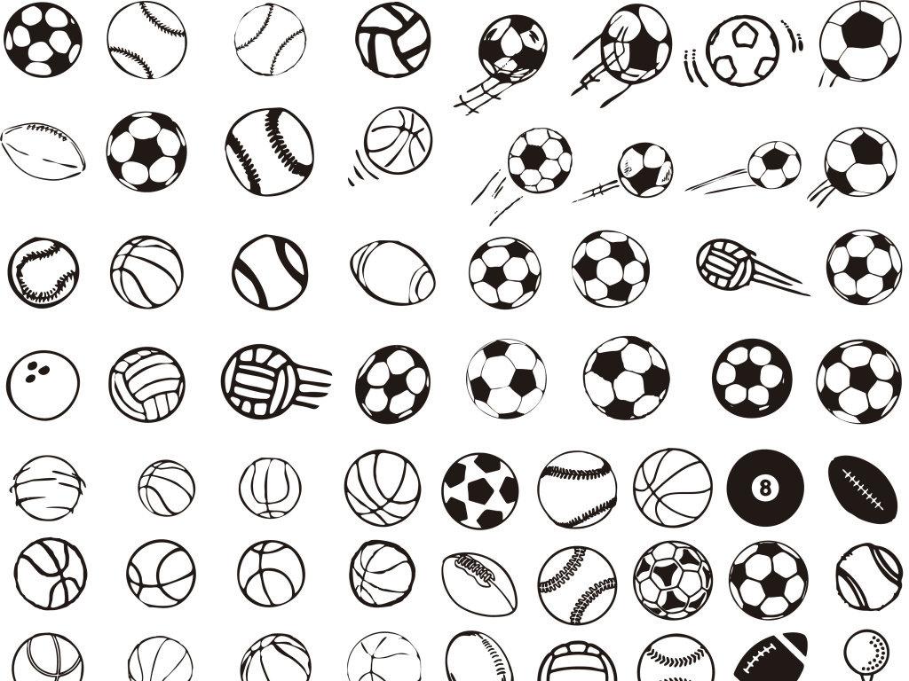 手绘球类设计矢量素材