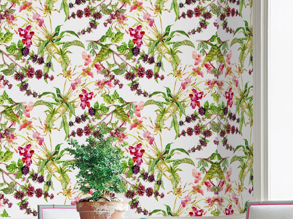 手绘花卉水彩小碎花兰花植物田园风美式墙纸