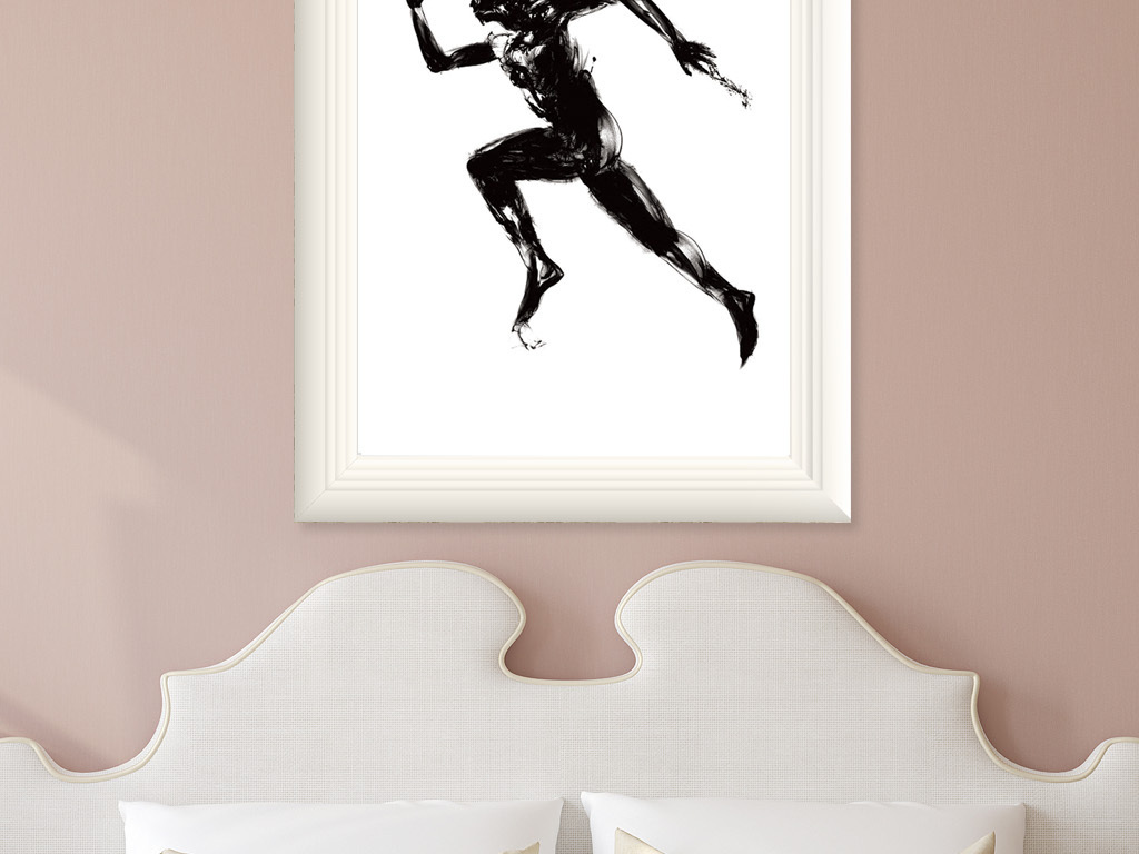 手绘抽象人物运动装饰画