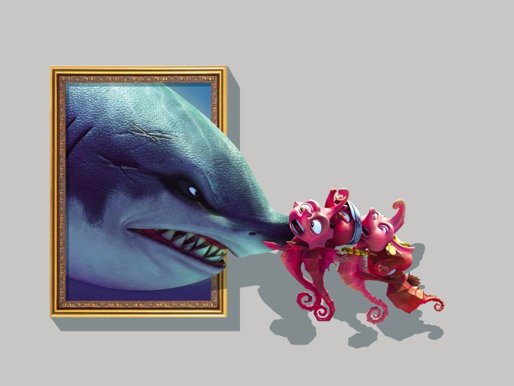 3d墙画鲨鱼