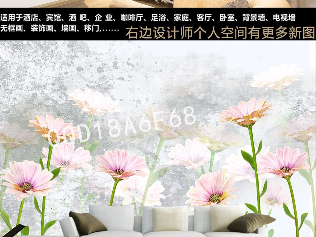欧式手绘复古雏菊花卉田园风背景墙纸壁画