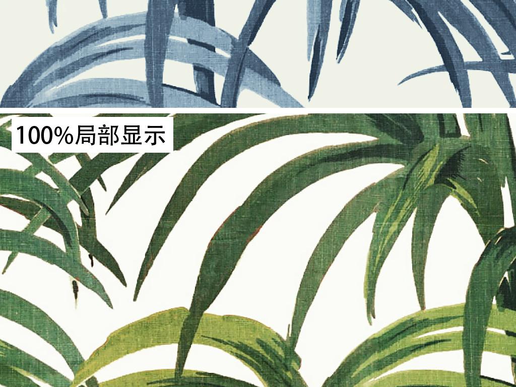 背景墙 墙纸|壁纸 美式墙纸 > 手绘欧式芭蕉叶竹林叶植物复古怀旧壁画