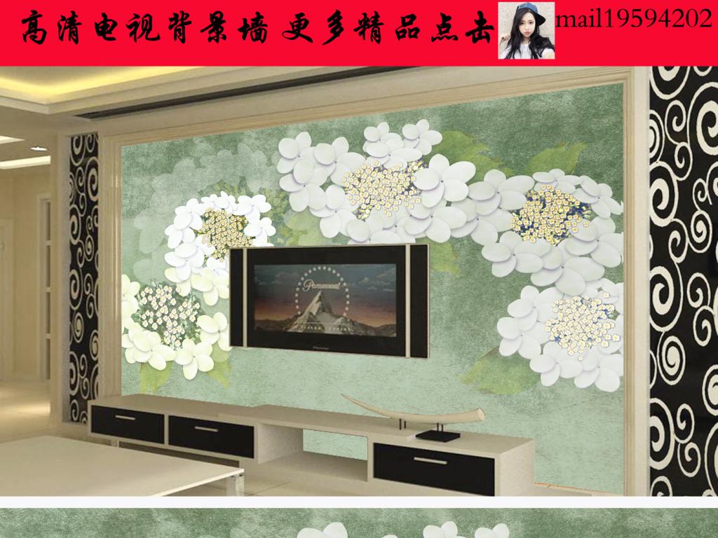 现代欧式手绘花卉电视背景墙